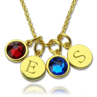 Custom Double Discs Initial Necklace with Birthstones - Solid Gold