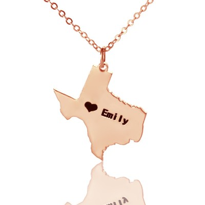 Texas State USA Map Necklace - Rose Gold