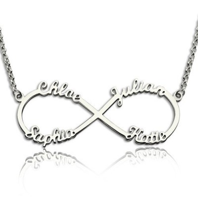 18CT White Gold Infinity Symbol Necklace 4 Names