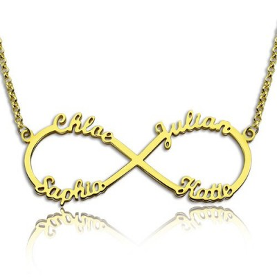 Custom - 18CT Gold Infinity Necklace 4 Names