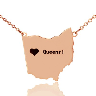 Custom Ohio State USA Map Necklace - Rose Gold