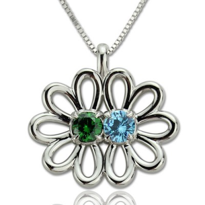 Solid White Gold Double Flower Pendant with Birthstone