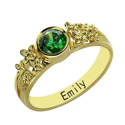 Flower Engagement Birthstone Name Ring Gold