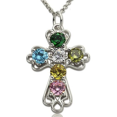 Solid White Gold Cross Necklace with Birthstones