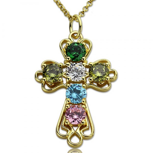 Cross Name Necklace with Birthstones Gold