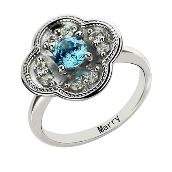 Birthstone Blossoming Love Engagement Solid White Gold Ring