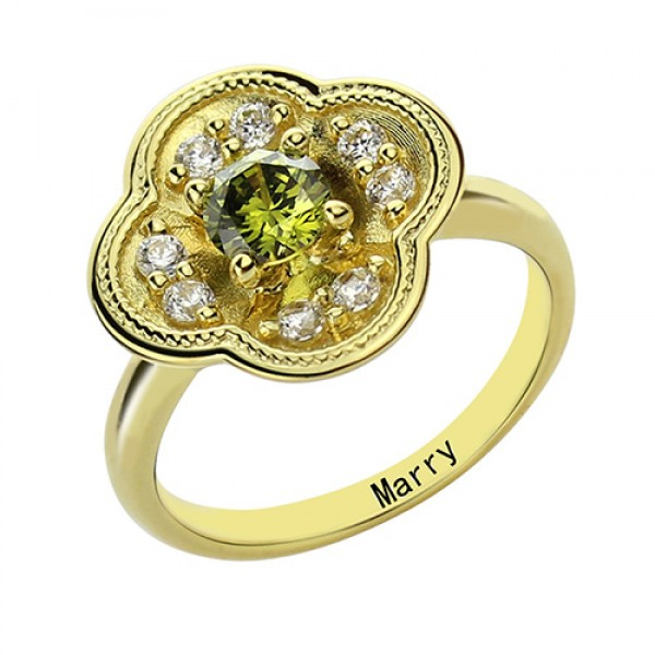 Blossoming Engagement Ring Engraved Birthstone - 18CT Gold