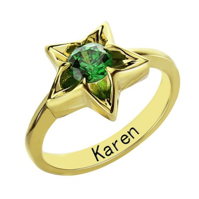 Star Ring with Birthstone Gold