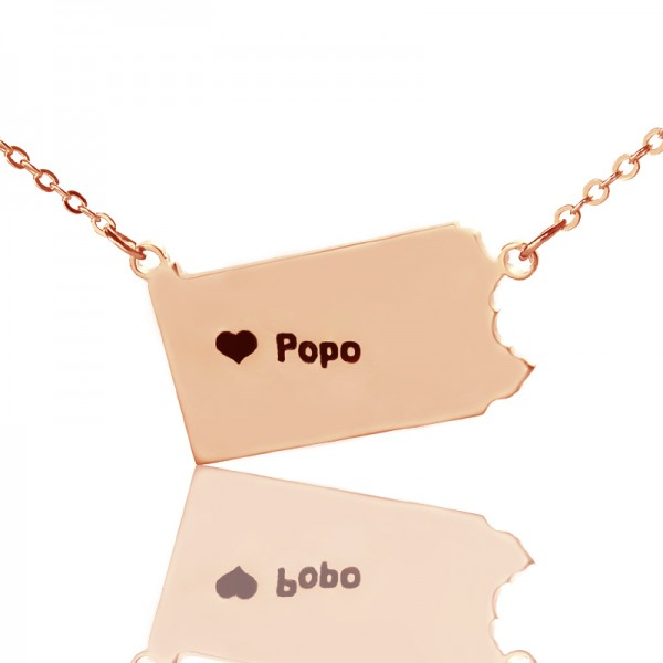 Personalised PA State USA Map Necklace - Rose Gold