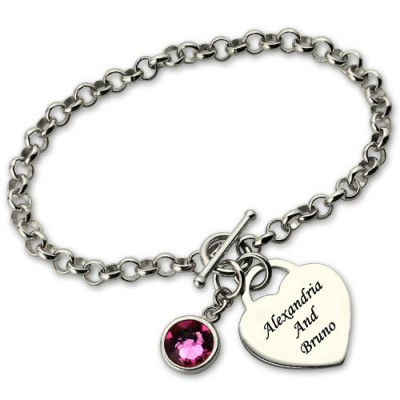 Solid White Gold Charm Bracelet with Birthstone Name