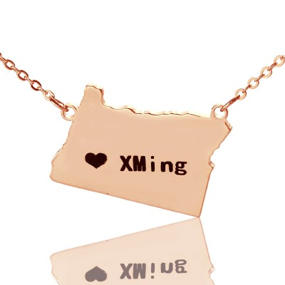 Custom Oregon State USA Map Necklace - Rose Gold