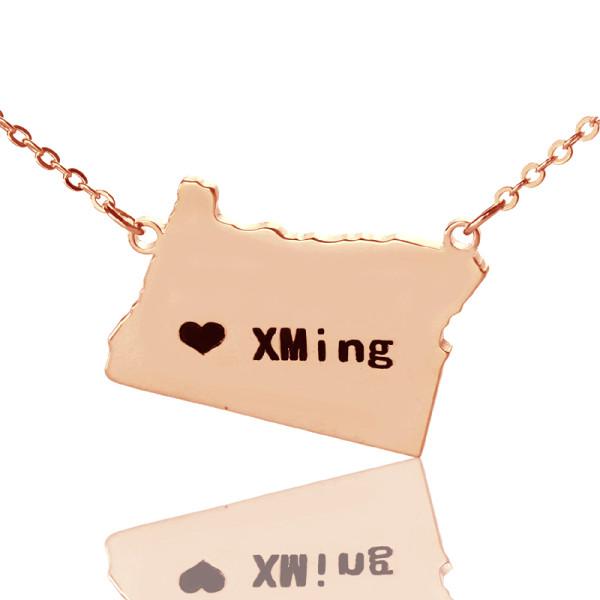 Custom Oregon State USA Map Necklace - Rose Gold