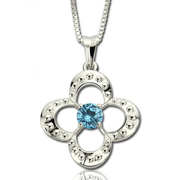 Solid White Gold Birthstone Four Clover Good Lucky Charm Necklace