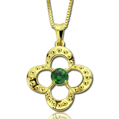 Clover Lucky Charm Necklace with Birthstone - 18CT Gold