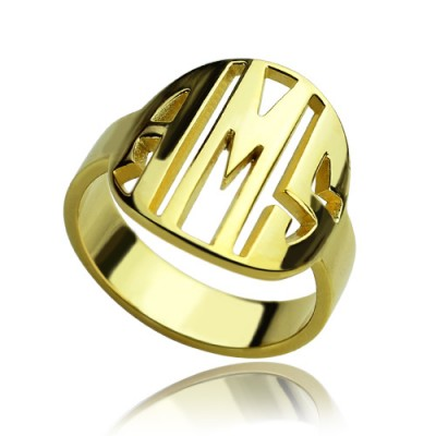 Personalised Block Circle Monogram Ring - 18CT Gold