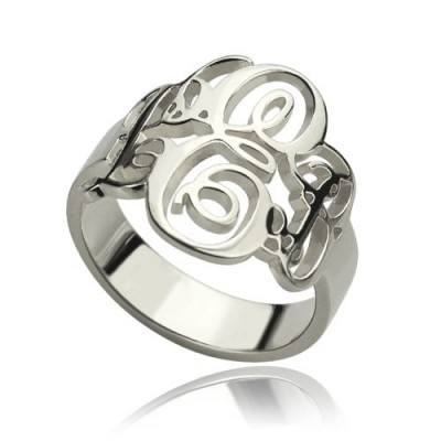 Fancy Monogram Solid White Gold Ring