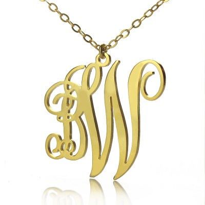 Personailzed Vine Font 2 Initial Monogram Necklace - 18CT Gold