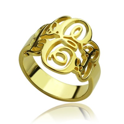Interlocking Three Initials Monogram Ring - 18CT Gold