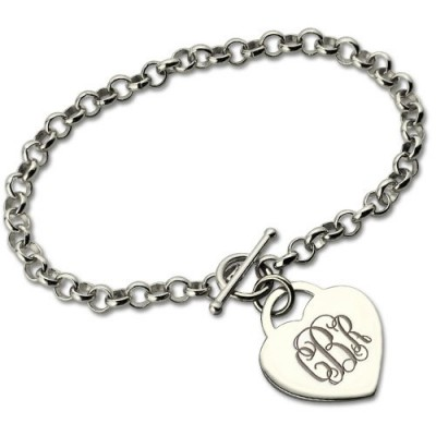 Solid Gold Monogram Charm Bracelet For Her