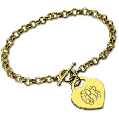 Heart Monogram Initial Charm Bracelets - 18CT Gold