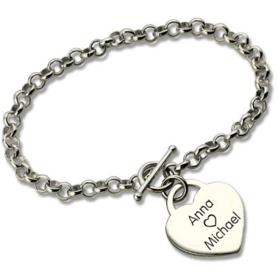 Solid White Gold Classic Padlock Heart Toggle Bracelet with Free Filigree Keepsake Box
