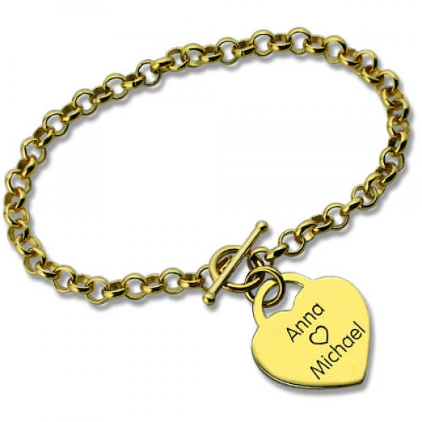 Personalised Heart Name Bracelets - 18CT Gold