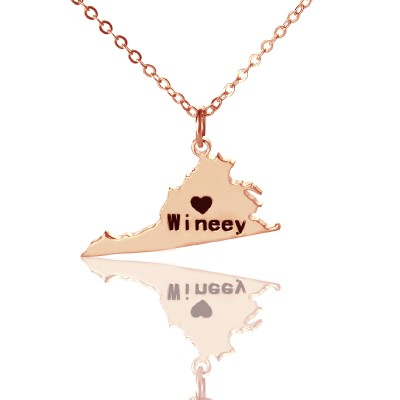 Virginia State USA Map Necklace - Rose Gold