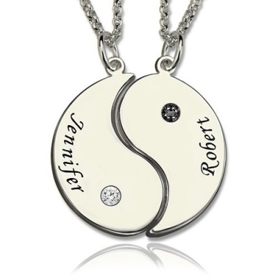 Solid Gold Gifts for Him Her - Yin Yang Necklace Set with Name Birthstone