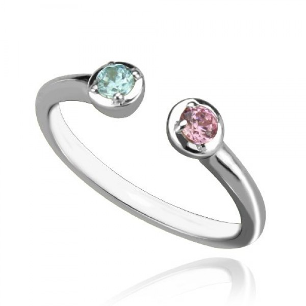 2 Stone Dual Birthstone Cuff Solid White Gold Ring