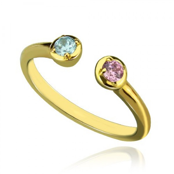 Dual Birthstone Ring - 18CT Gold