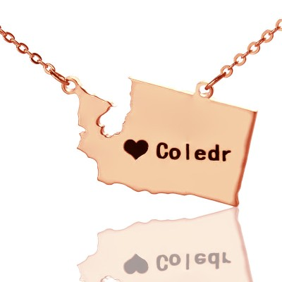 Washington State USA Map Necklace - Rose Gold