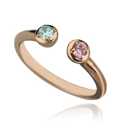 Dual Birthstone Ring 18CT Rose Gold