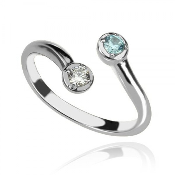 Dual Drops Birthstone Solid White Gold Ring
