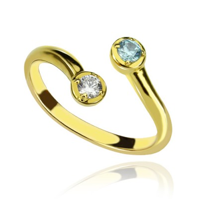 Dual Drops Birthstone Ring - 18CT Gold