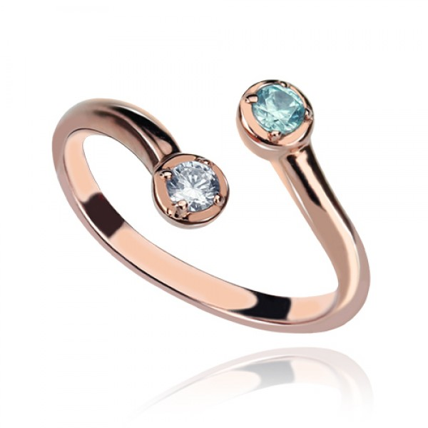 Dual Drops Birthstone Ring 18CT Rose Gold Plated