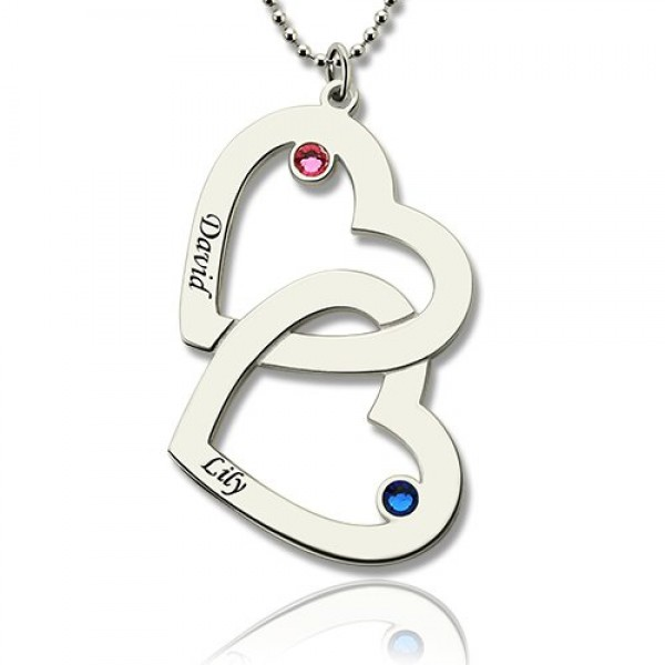 Solid White Gold Double Heart Necklace with Name Birthstones