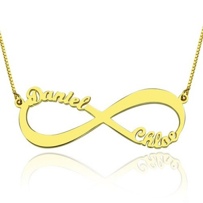 18CT Gold Infinity Necklace Double Name