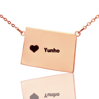 Wyoming State Shaped Map Necklaces - Rose Gold