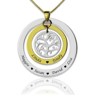 Solid Gold Grandma Family Tree Names Necklace