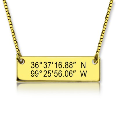 GPS Map Nautical Coordinates Necklace - 18CT Gold