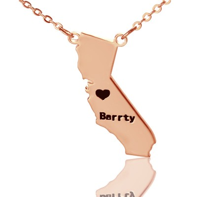 California State Shaped Necklaces - 18CT Rose Gold Plated
