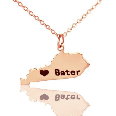 Custom Kentucky State Shaped Necklaces - Rose Gold