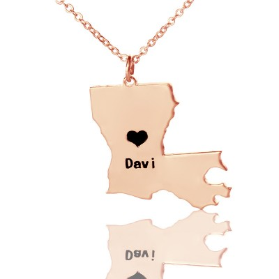 Custom Louisiana State Shaped Necklaces - Rose Gold