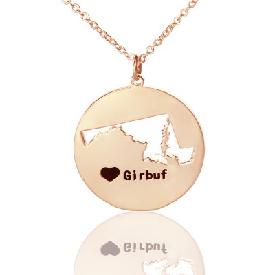 Custom Maryland Disc State Necklaces - Rose Gold