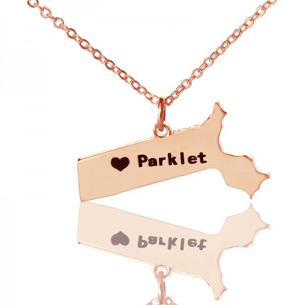 Massachusetts State Shaped Necklaces - Rose Gold