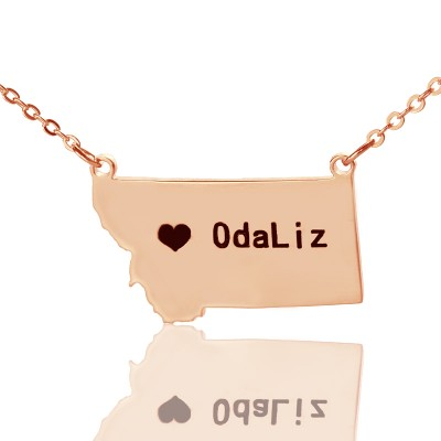 Custom Montana State Shaped Necklaces - Rose Gold