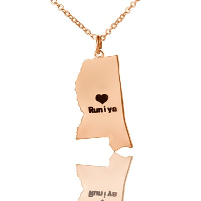 Mississippi State Shaped Necklaces - Rose Gold
