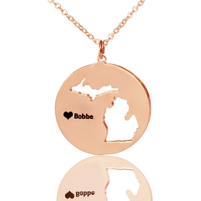 Custom Michigan Disc State Necklaces - Rose Gold