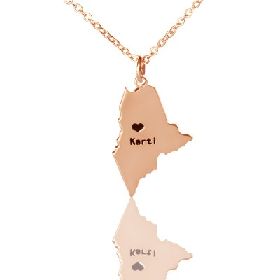 Custom Maine State Shaped Necklaces - Rose Gold