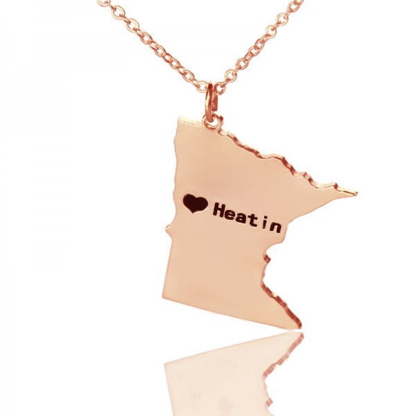 Custom Minnesota State Shaped Necklaces - Rose Gold
